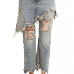 R 13 Jeans - R13 Jeans Blue Distressed Skirt Overlay 27